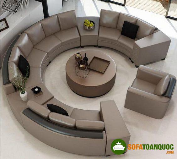 ghế sofa cong bọc da công nghiệp