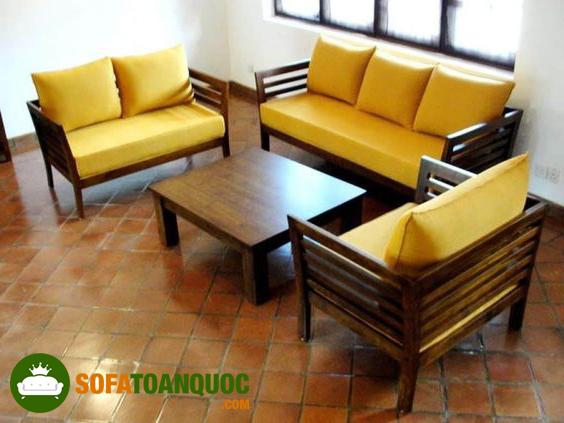 sofa gỗ đệm dành riêng cho mùa đông