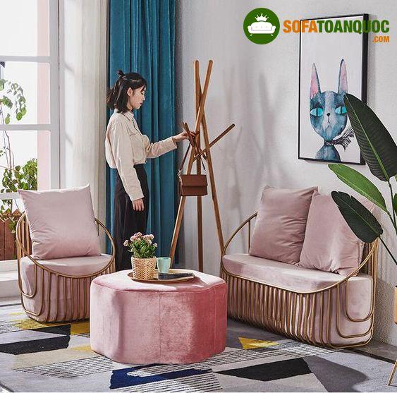 bộ bàn ghế sofa có khung kim loại