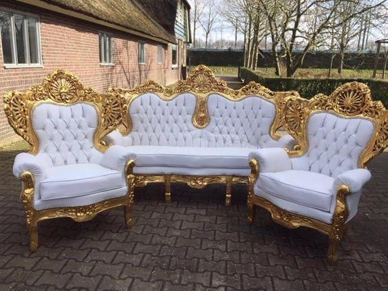 ghế sofa hoàng gia bọc vải màu trắng