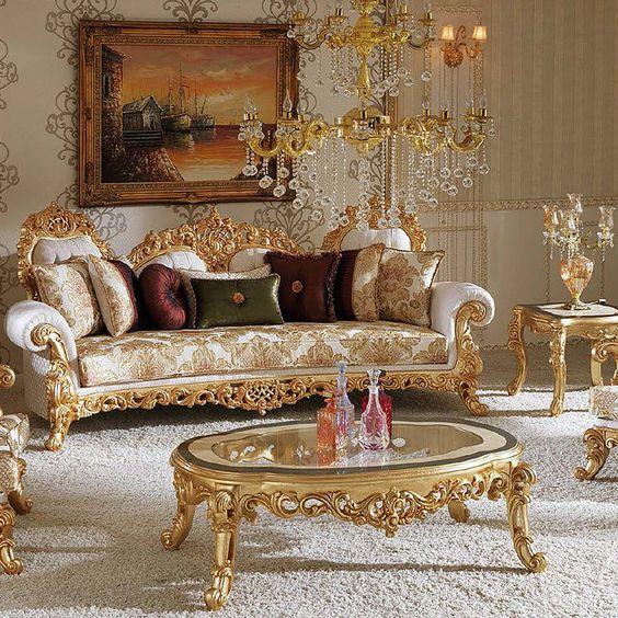 nội thất sofa bàn trà phong cách hoàng gia quý tộc