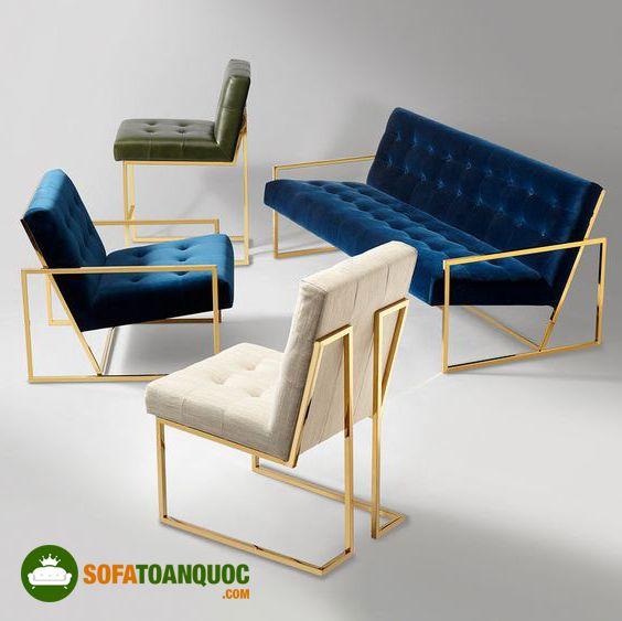 ghế sofa khung sắt mạ vàng