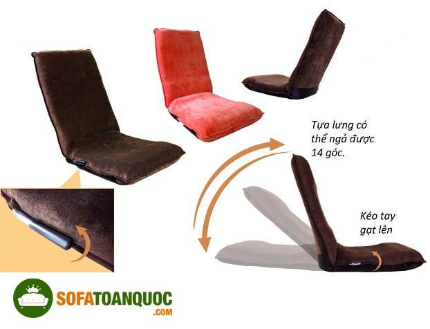 ghế sofa ngồi bệt tuỳ chỉnh góc nghiêng