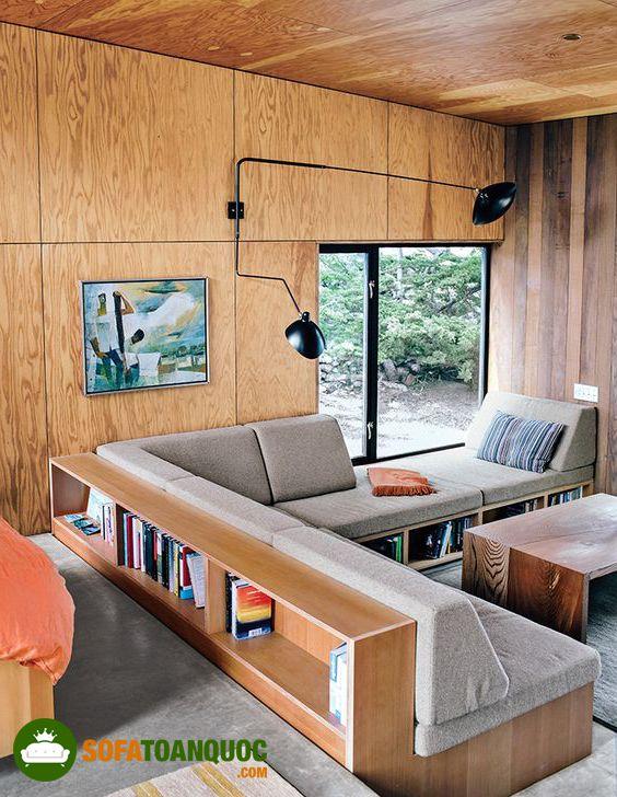 ghế sofa gỗ đệm có hộc tủ đựng đồ