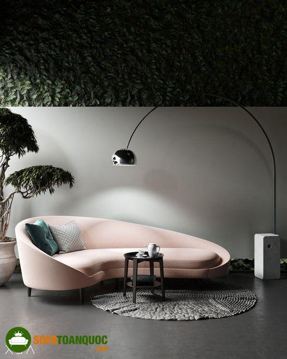 ghế sofa bọc vải cong màu hồng