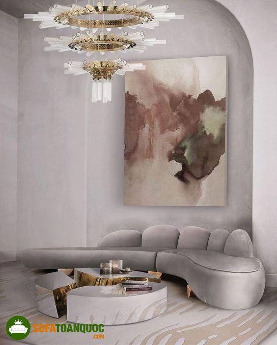 ghế sofa cong màu xám bọc vải