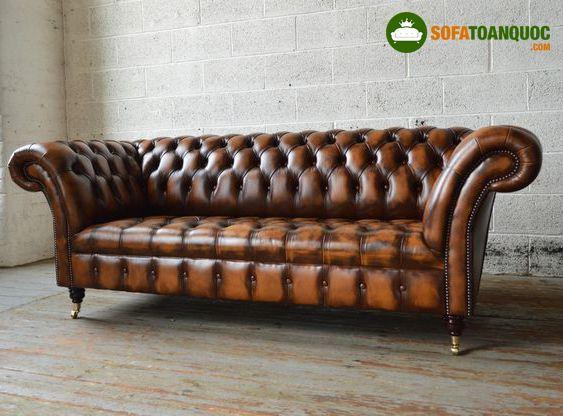 Bộ ghế sofa vintage bọc da tân cổ điển