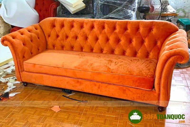 ghế sofa bọc vải tân cổ điển dài 2m