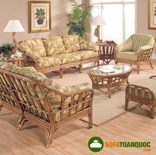 bộ bàn ghế sofa mây tre đệm bọc vải hoa