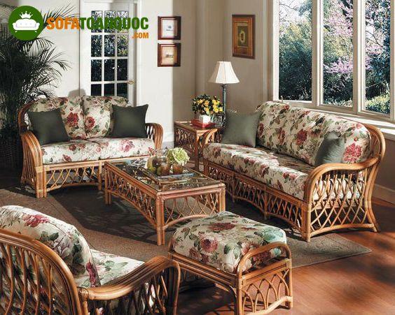 bộ bàn ghế sofa mây tre đan kết hợp