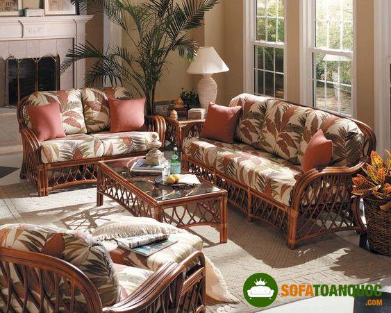 bộ ghế sofa mây bọc vải cổ điển`