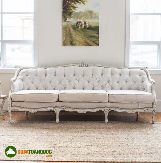 ghế sofa phong cách hoàng gia màu trắng