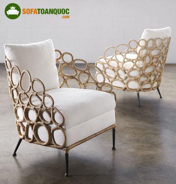ghế sofa khung sắt bọc mây