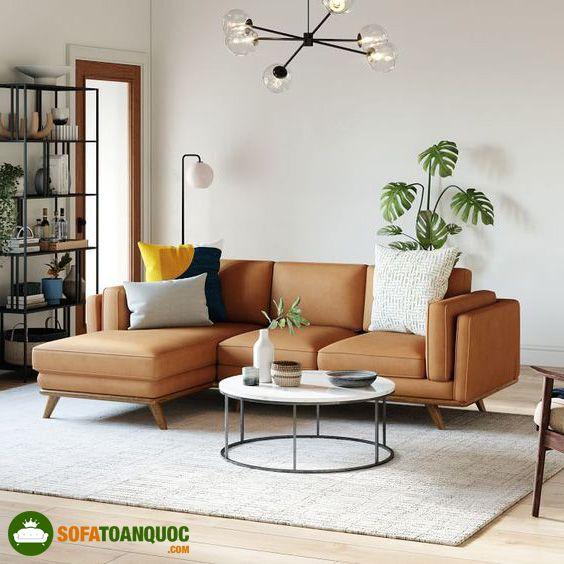 ghế sofa màu nâu da bò