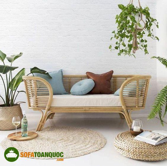 bộ ghế sofa mây tre đan kết hợp