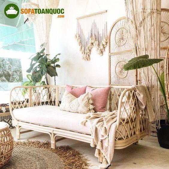 bộ bàn ghế sofa phòng khách chất liệu mây tre