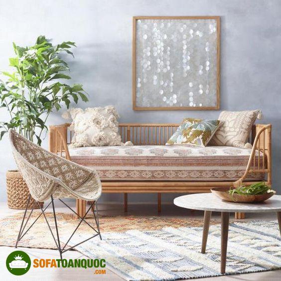 bộ ghế sofa phòng khách sử dụng mây tre