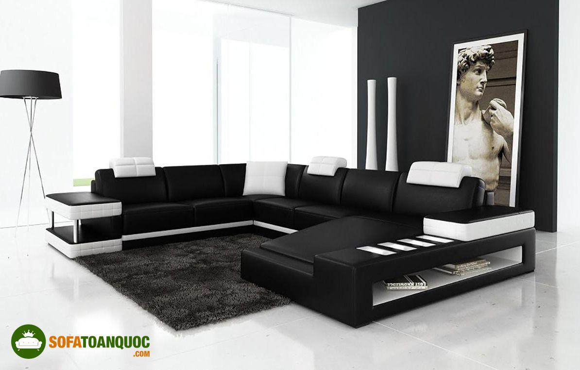 ghế sofa trắng viền đèn