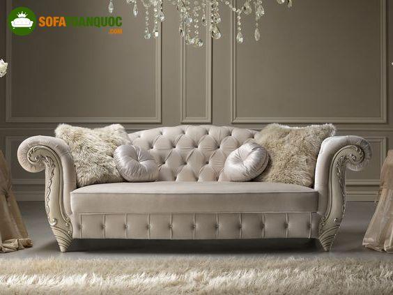 ghế sofa bọc vải cũ vintage tân cổ điển