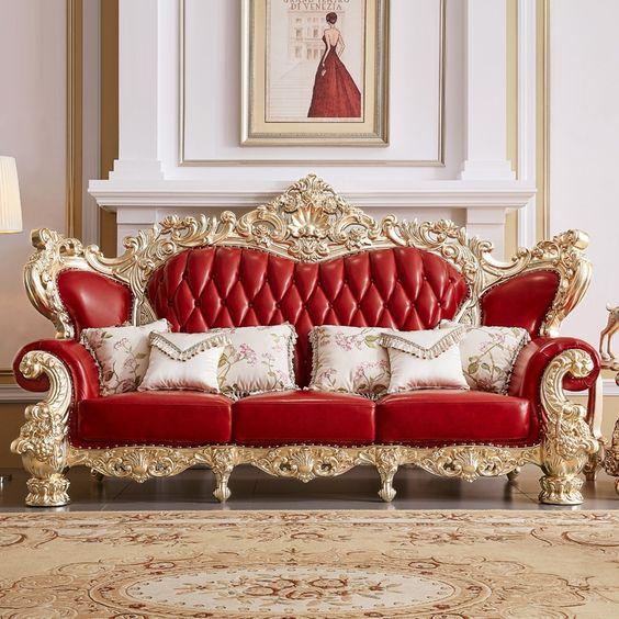 sofa hoa văn quý tộc bọc da màu đỏ