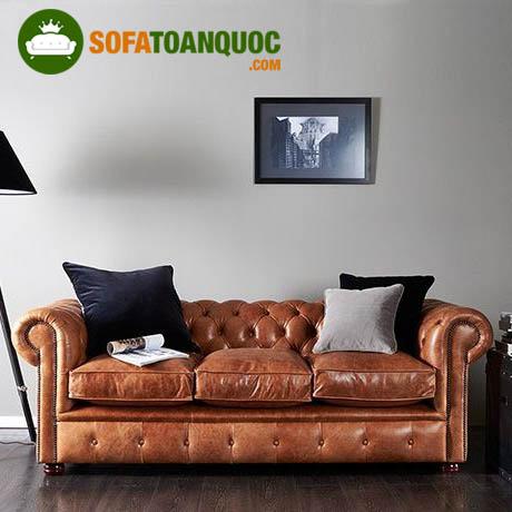 ghế sofa đơn dài tân cổ điển bọc da