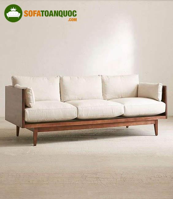 sofa gỗ đệm dạng dài