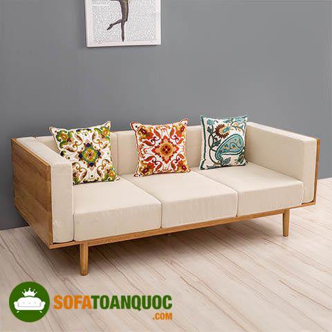 ghế sofa khung gỗ bọc đệm đơn dài