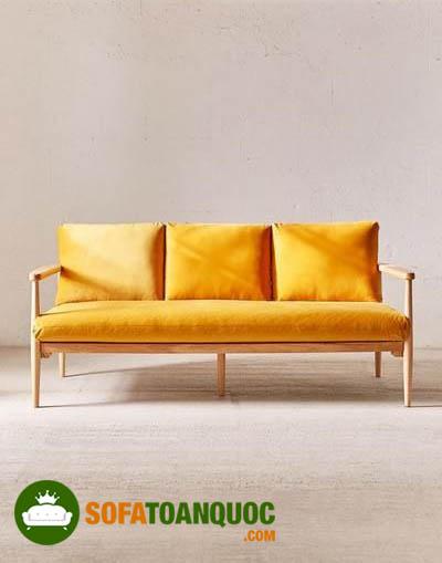 sofa dài bọc vải màu cam