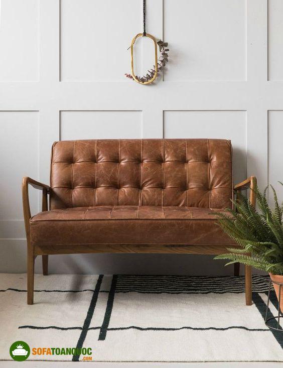 ghế sofa khung gỗ vintage bọc da