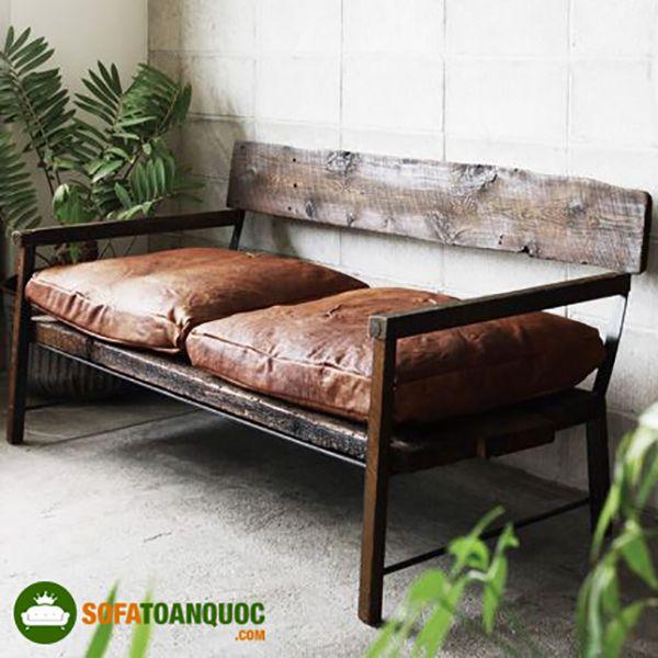 ghế sofa gỗ đệm vintage
