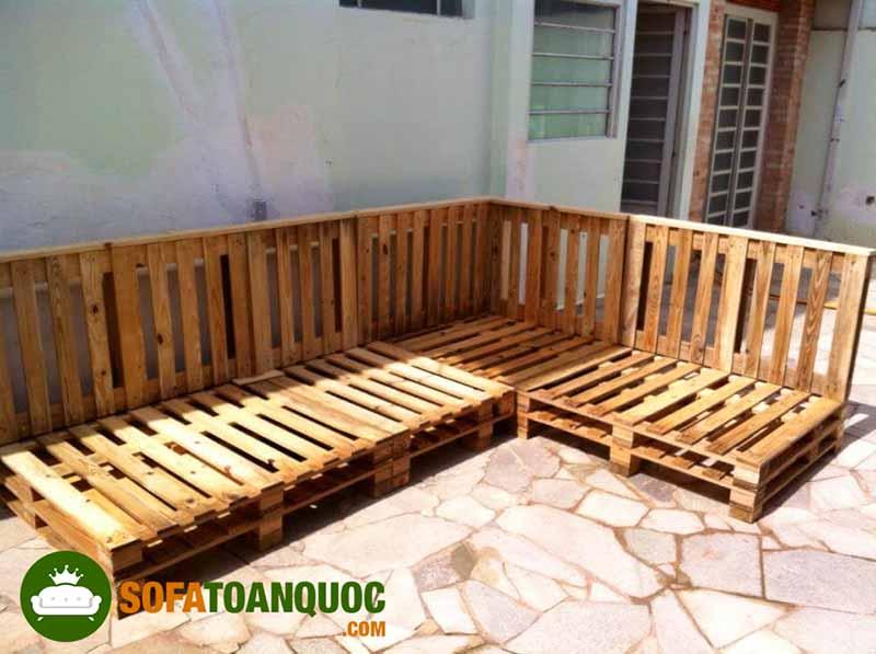 sofa gỗ pallet dạng góc