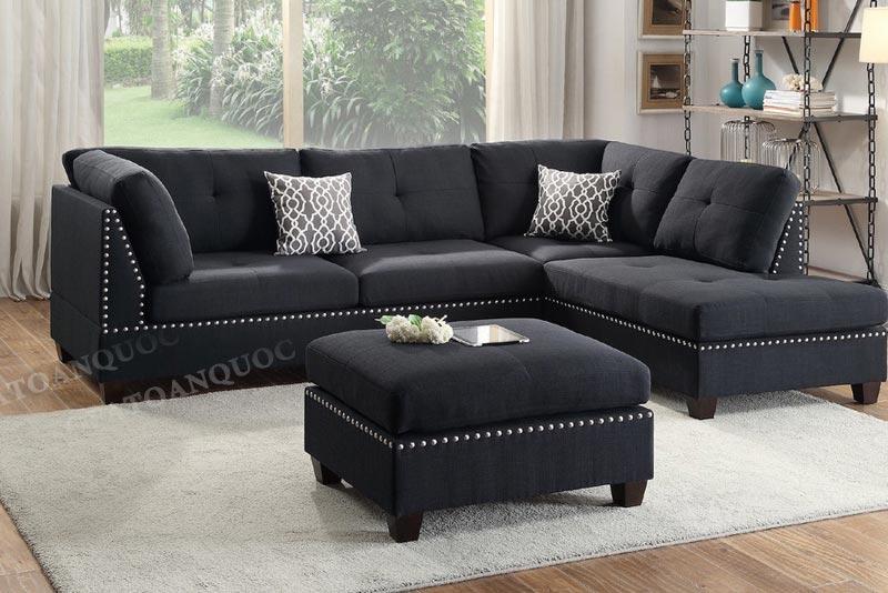 sofa góc bọc nỉ màu đen