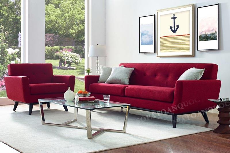 bộ ghế sofa màu đỏ cho mùa đông ấm áp