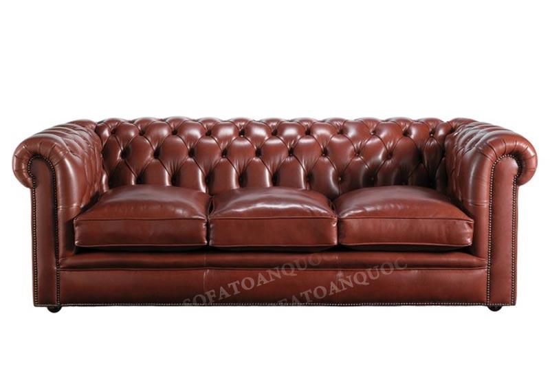 ghế sofa tân cổ điển 3 chỗ da bò thật
