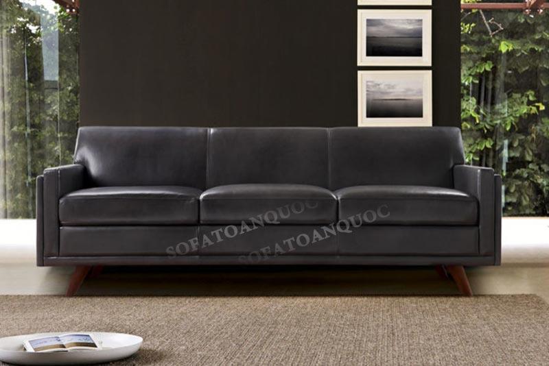 sofa văng 3 chỗ da công nghiệp màu đen