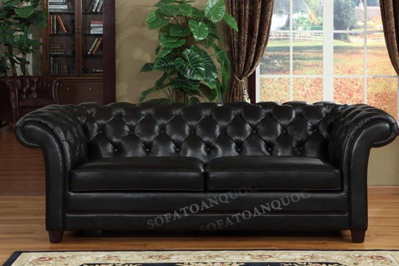 sofa văng tân cổ điển đẹp bọc da màu đen