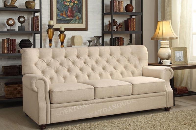 sofa văng bọc nỉ tân cổ điển 3 chỗ