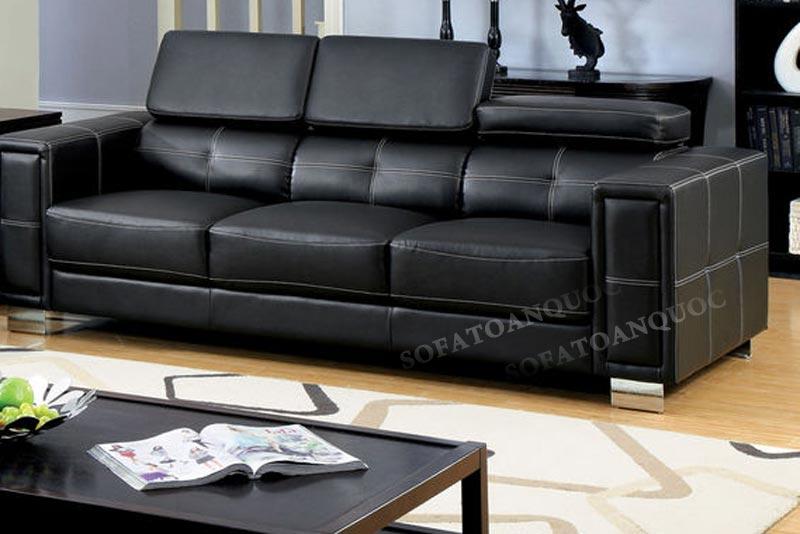 sofa văng kiểu dáng 3 chỗ ngồi màu đen sang trọng. Chân inox