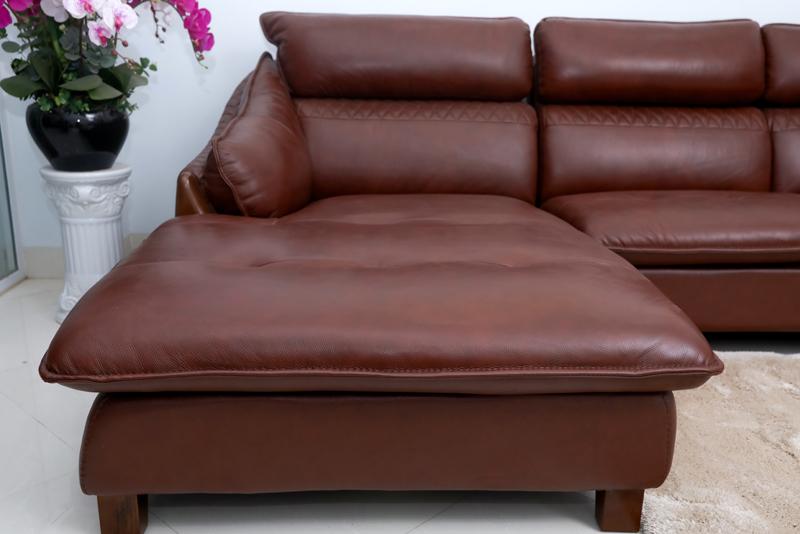 chân ghế gỗ sofa da bò thật
