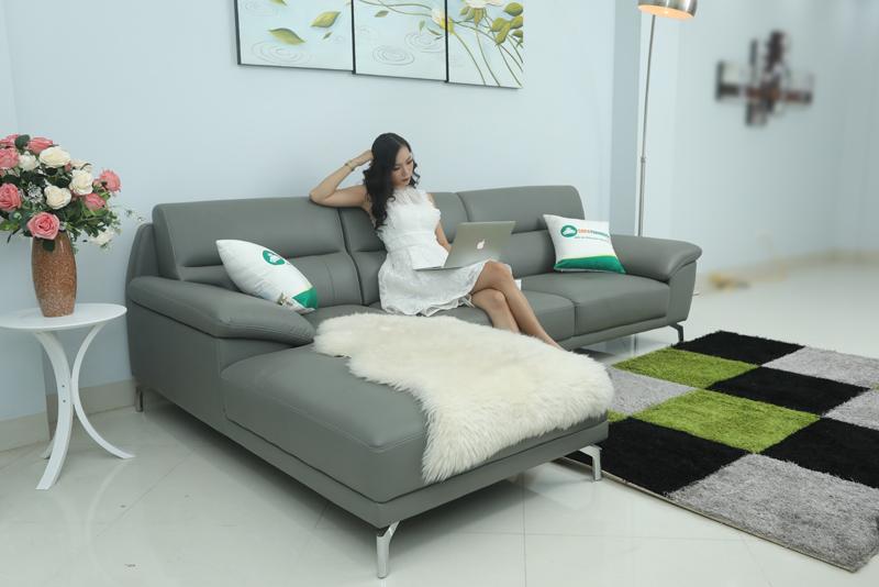 ghế sofa góc trái màu xám