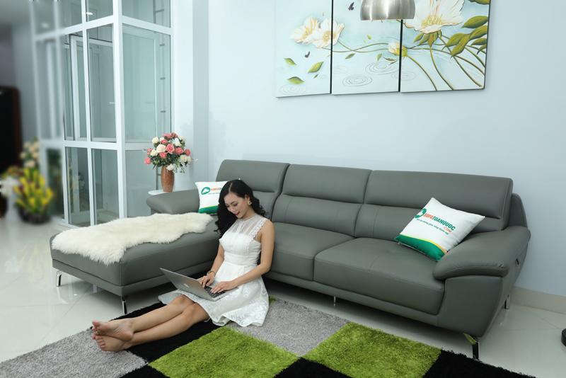sofa góc trái màu xám đẹp cho phòng khách