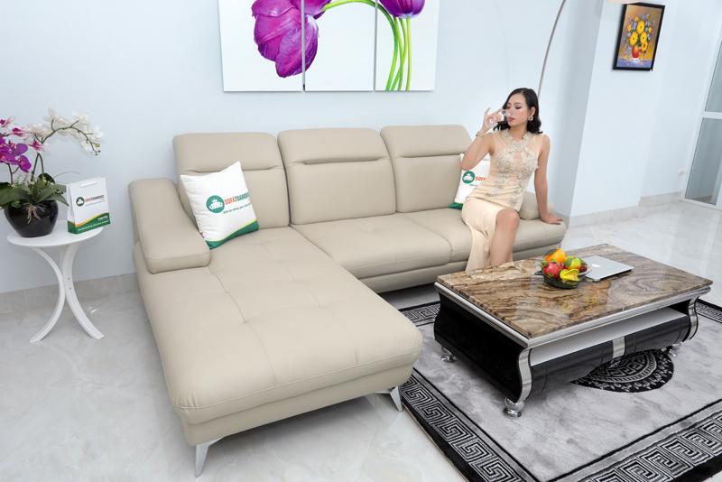 ghế sofa bọc da màu xám trắng