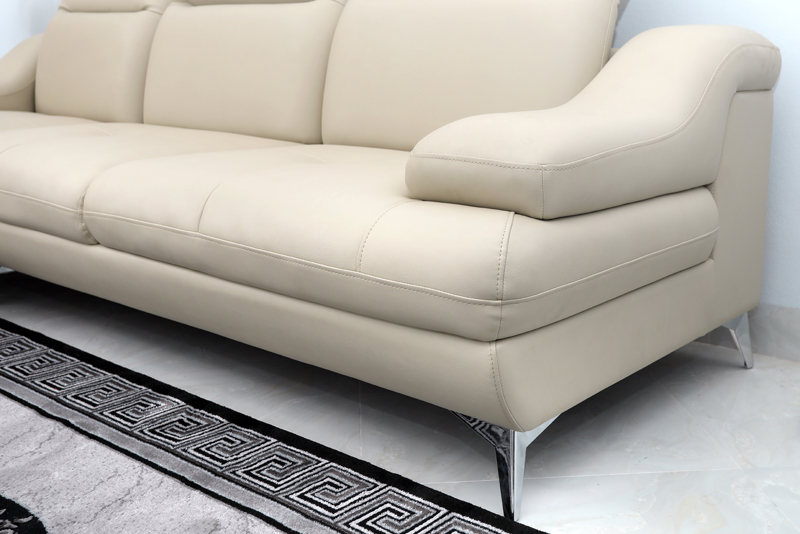 ghế sofa bọc da chân inox
