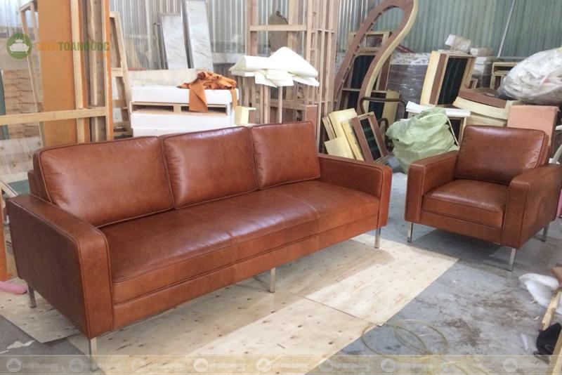 bộ sofa 2 m kiểu 1-2 bọc da công nghiệp