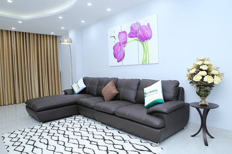 ghế sofa dài 3m bọc da màu đen