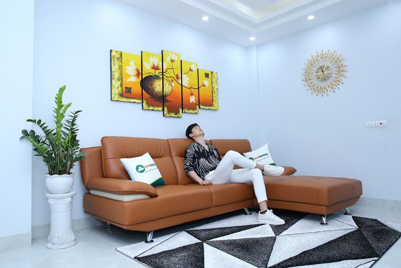 bộ ghế sofa da đẹp màu nâu kiểu dáng sofa góc