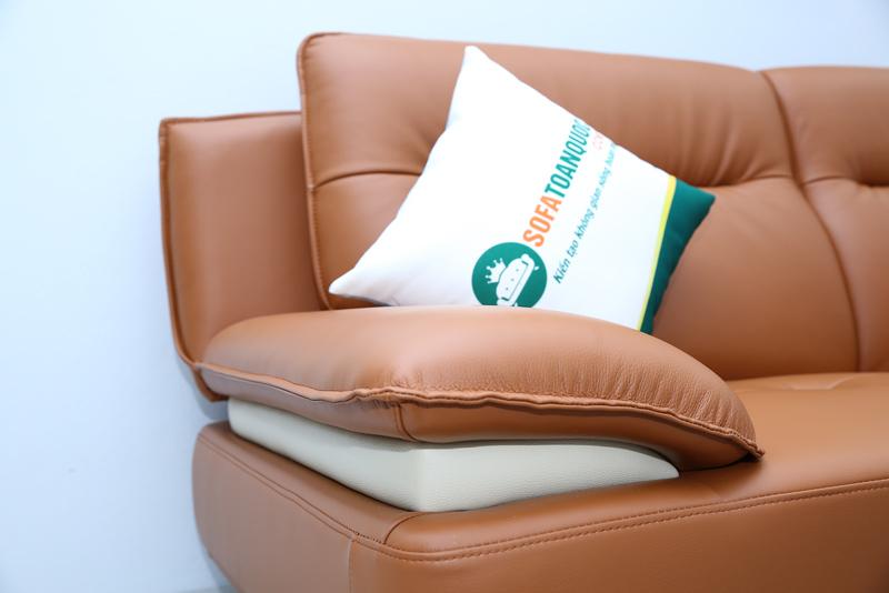 ghế sofa bọc da màu nâu chân inox đẹp
