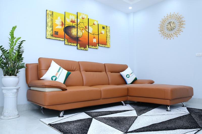 sofa góc bọc da màu nâu sang trọng