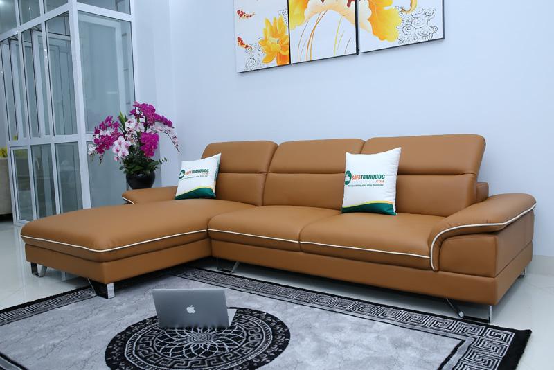 ghế sofa góc bọc da màu da bò