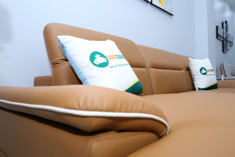 sofa da bò có viền trắng đẹp